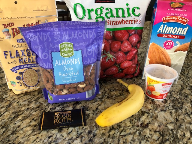 Ingredients needed for strawberry banana smoothie recipe.