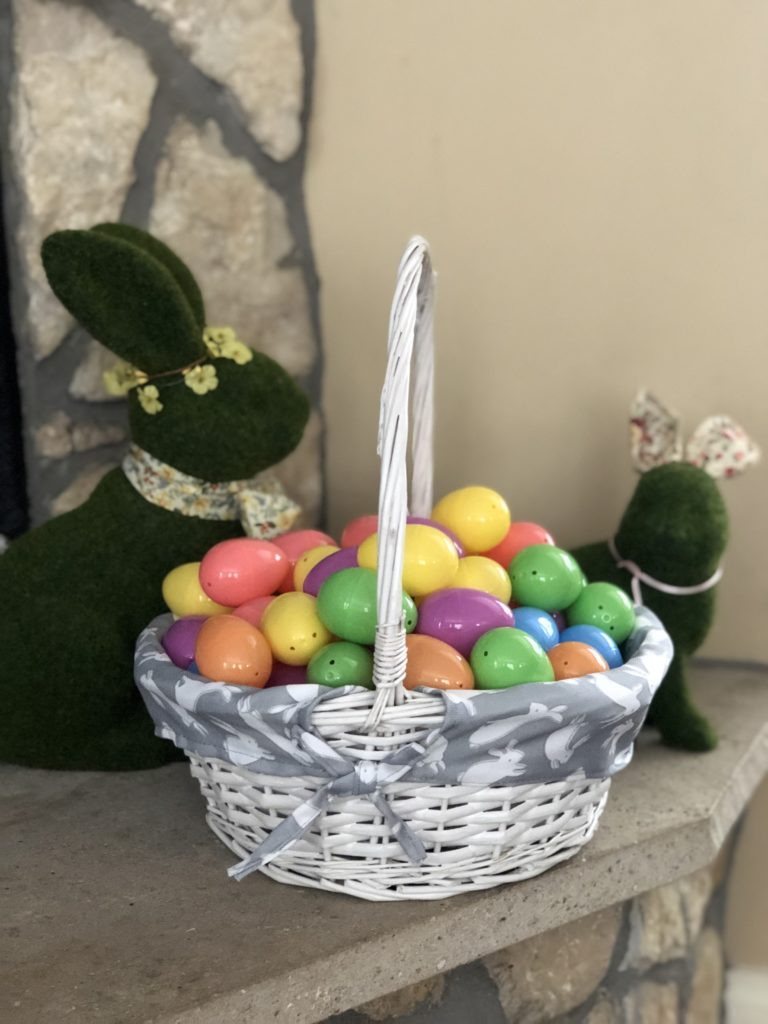 non-Candy Easter basket with bunny decorations