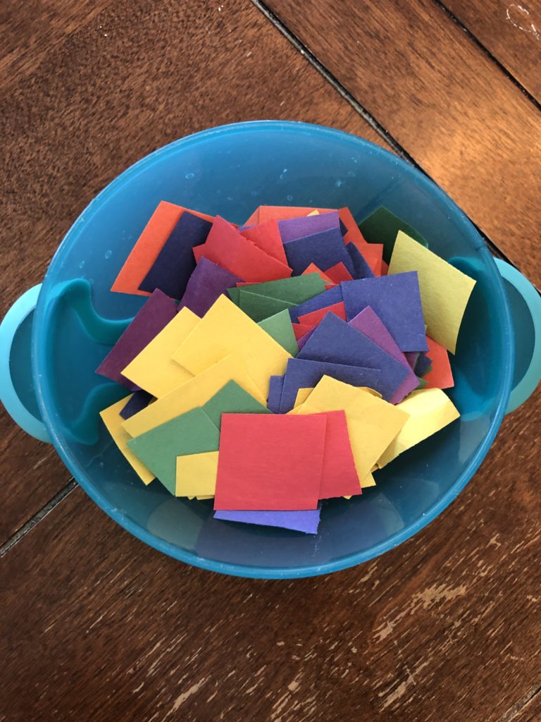 Colorful paper squares to be used in fun and easy rainbow craft