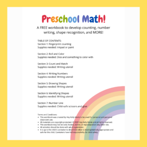 preschool math workbook, another preschool resource from hey kelly marie