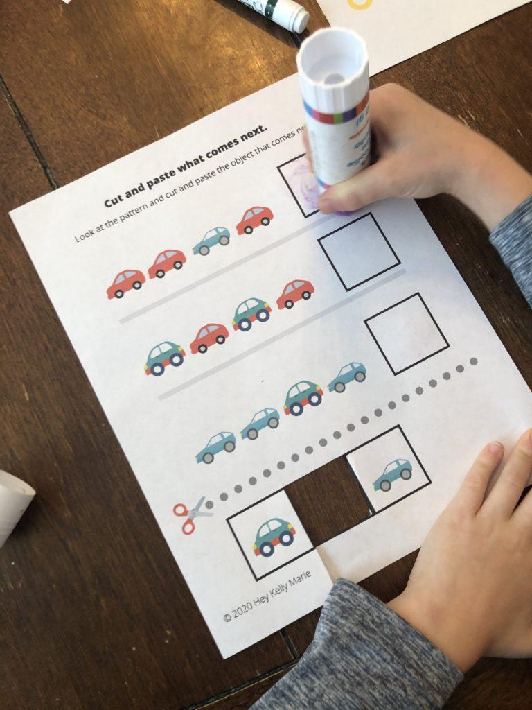 Cut and paste preschool pattern activity in the free preschool patterns workbook