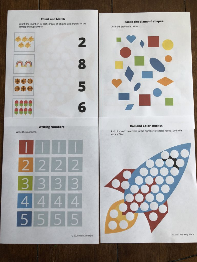 A preview of the types of worksheets included in the Free Preschool Math Workbook.
