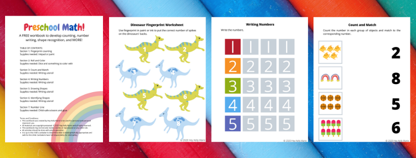 example pages of preschool math workbook