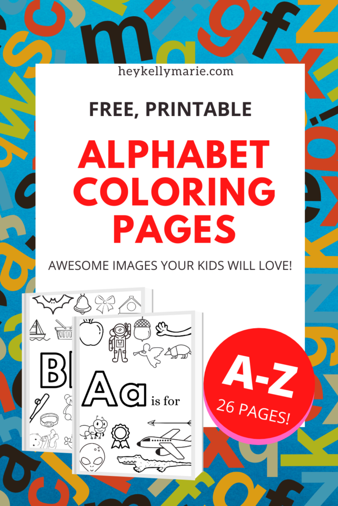 Pinterest pin describing alphabet coloring pages post