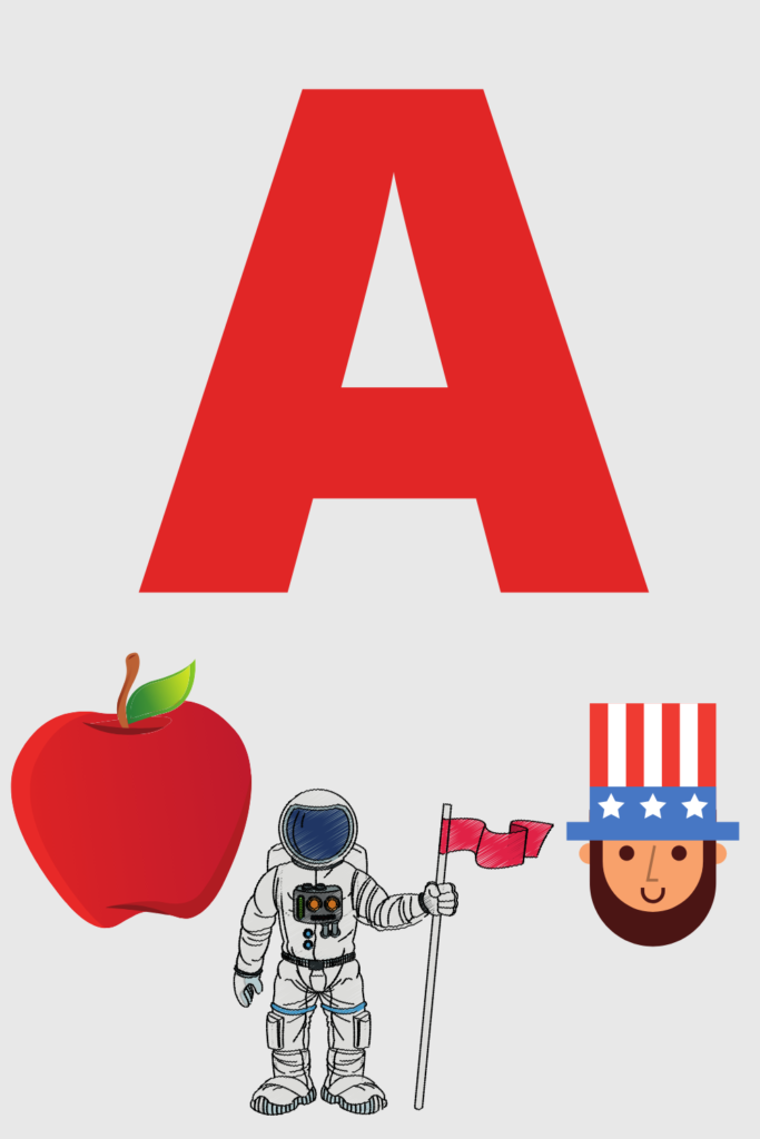Graphic of letter A with a few ideas of things that start with A