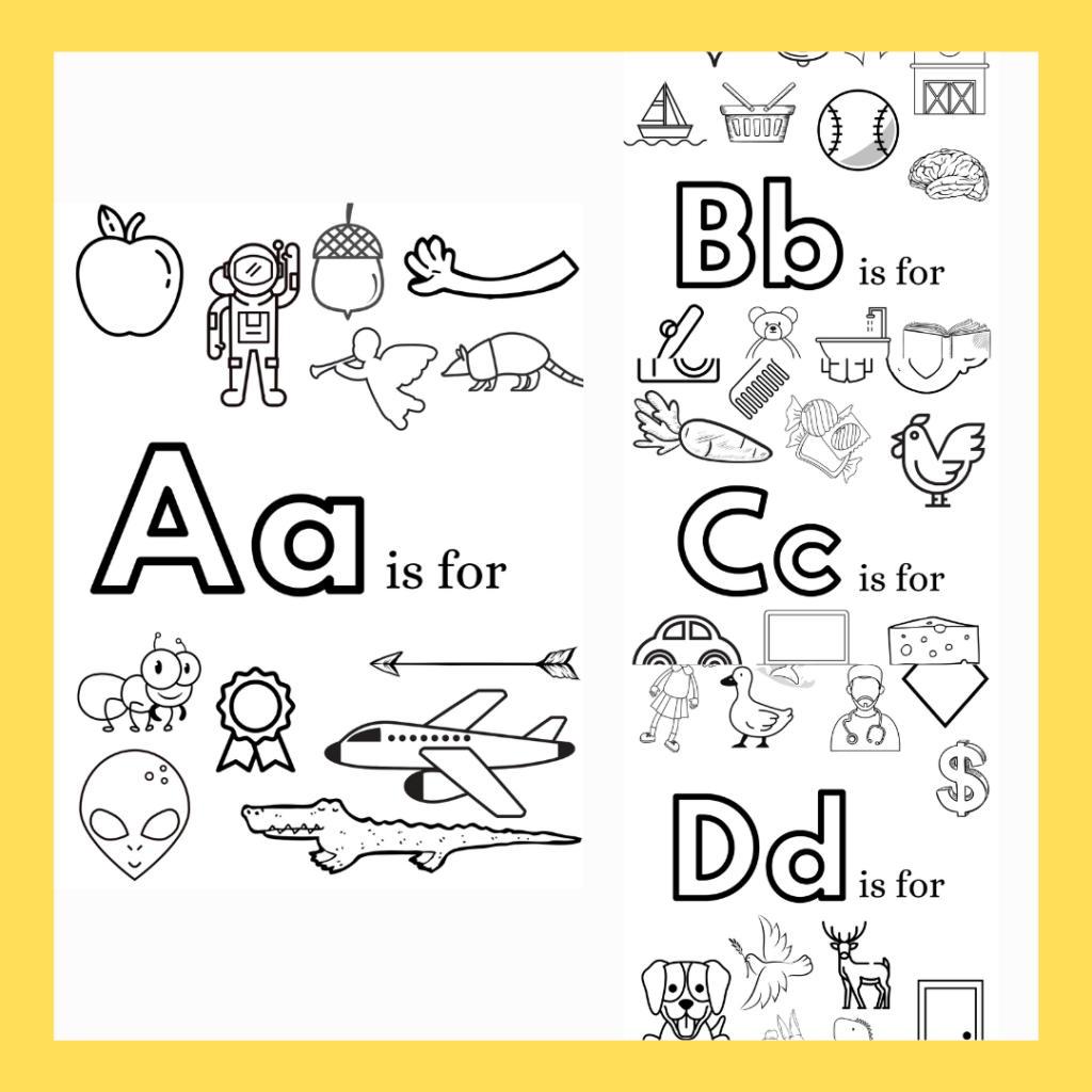 Alphabet Coloring Pages preview a free printable also provided to subscribers to hey kelly marie