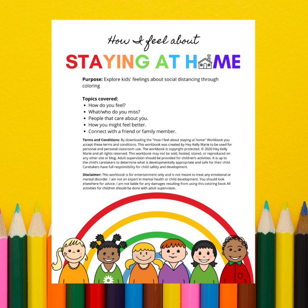 Cover of the how I feel about staying home coloring book for kids