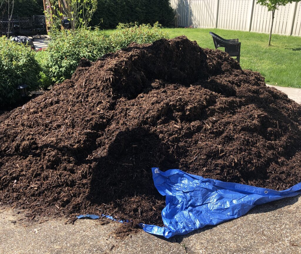 giant pile of mulch that we laid ourselves
