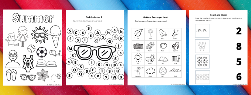 example pages of summer preschool activity pages