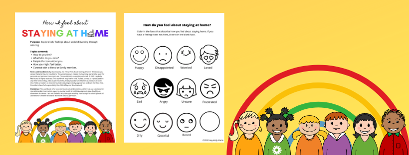 banner giving preview of feelings workbook for kids