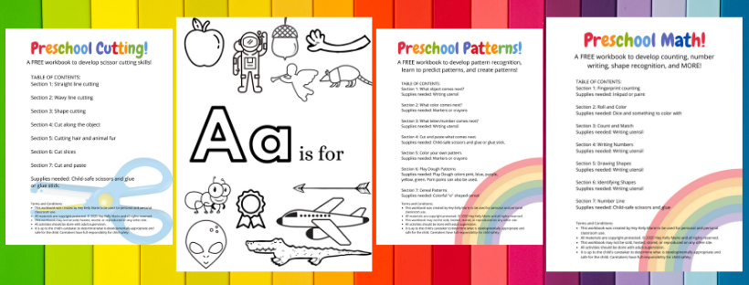 preschool workbook preview pages