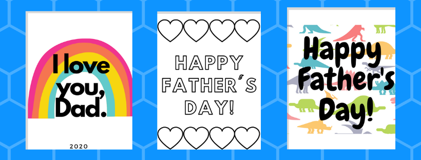 preview of printable father's day cards with rainbows, coloring page, and dinosaur designs