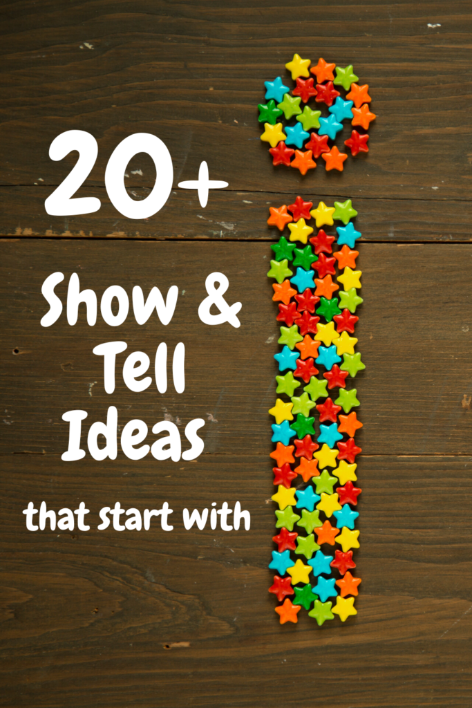 pinterest pin describing 20 show and tell ideas that start with letter I