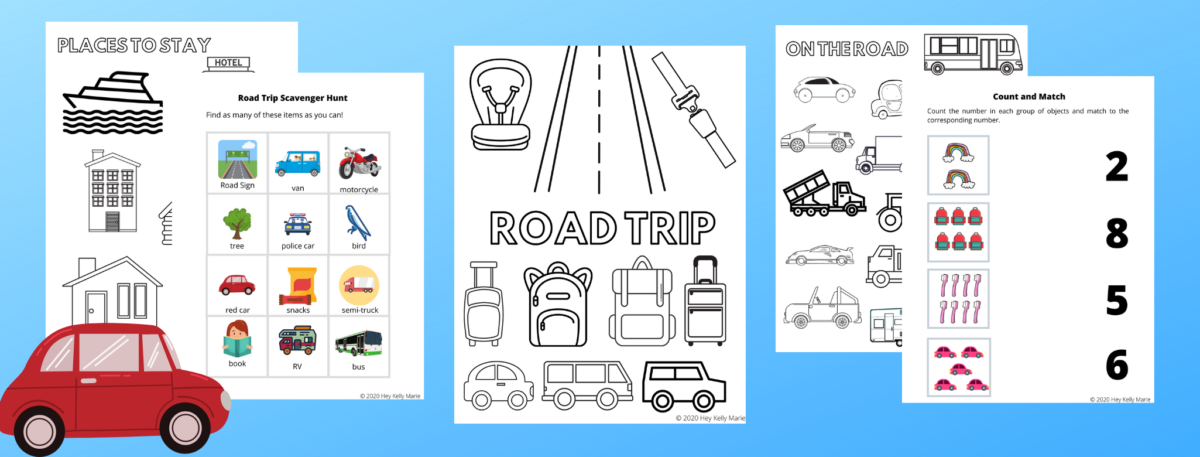 preview images of pages in free road trip activity book for kids