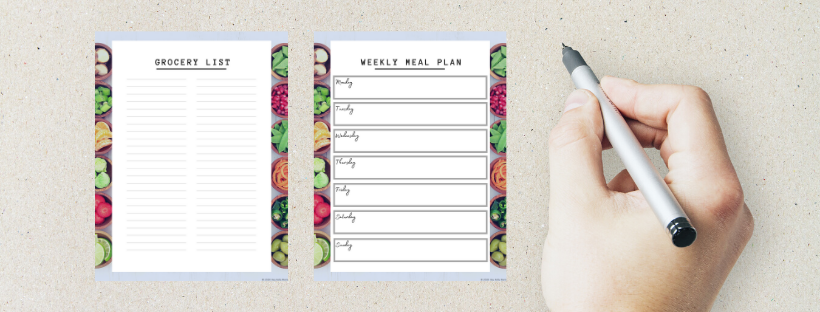 preview image of printable meal planner and grocery list