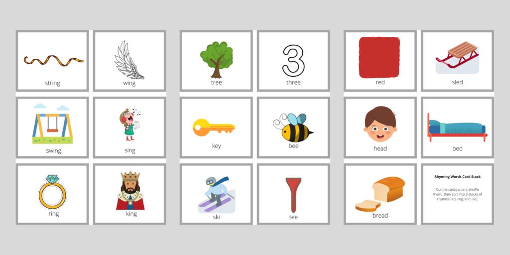17 cards that can be cut apart and sorted into 3 stacks of rhyming words.