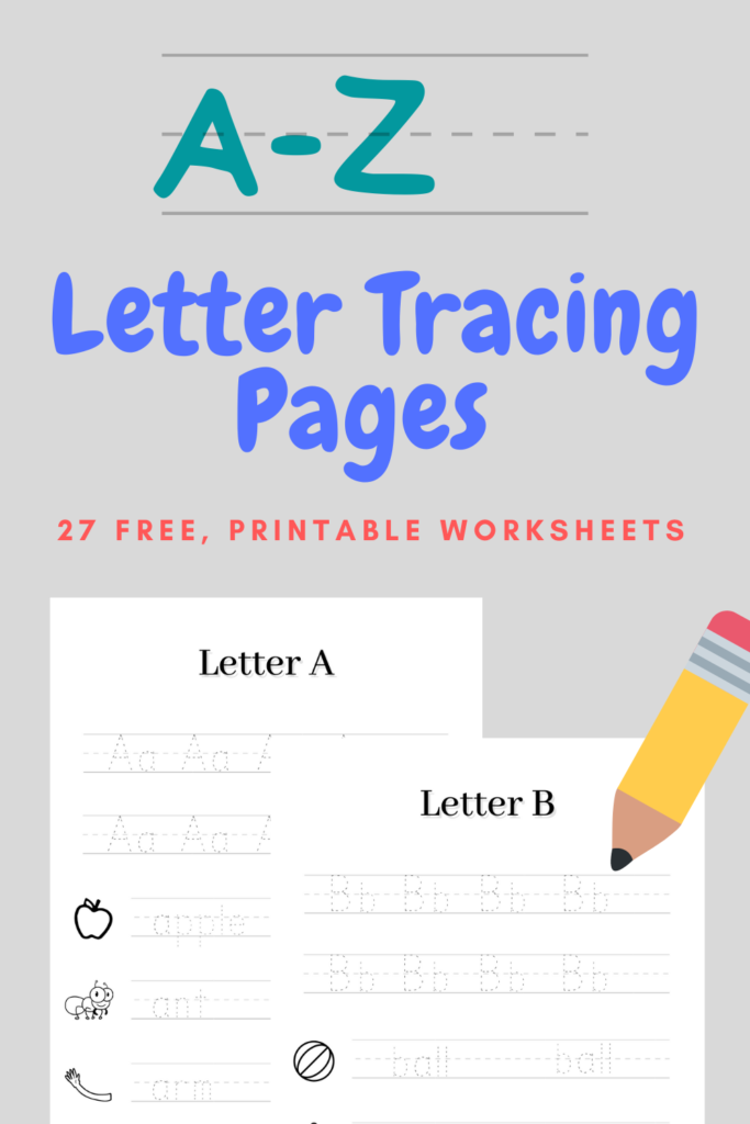 Pinterest pin advertising A-Z letter tracing pages free printable activity.