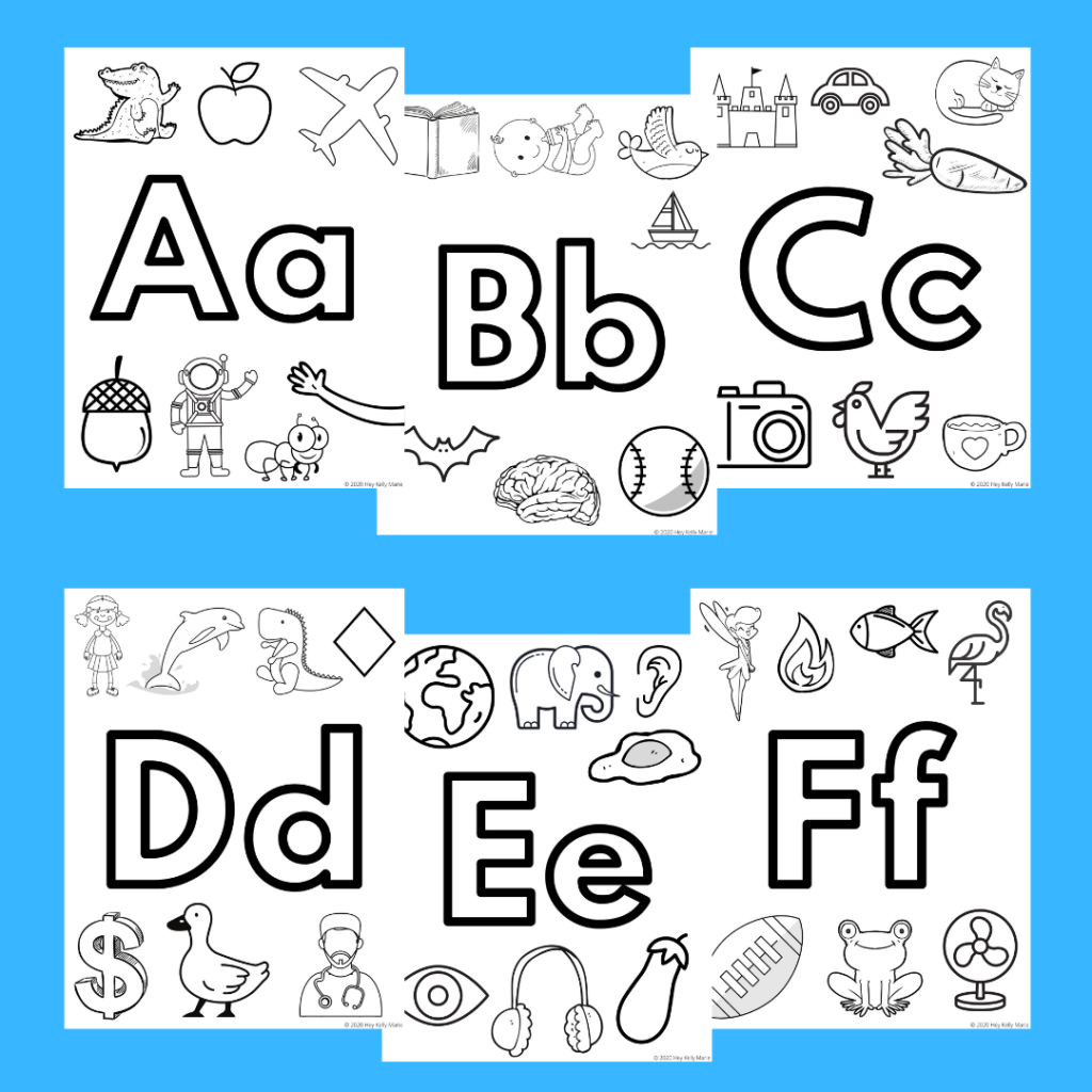 free, printable alphabet coloring pages preview