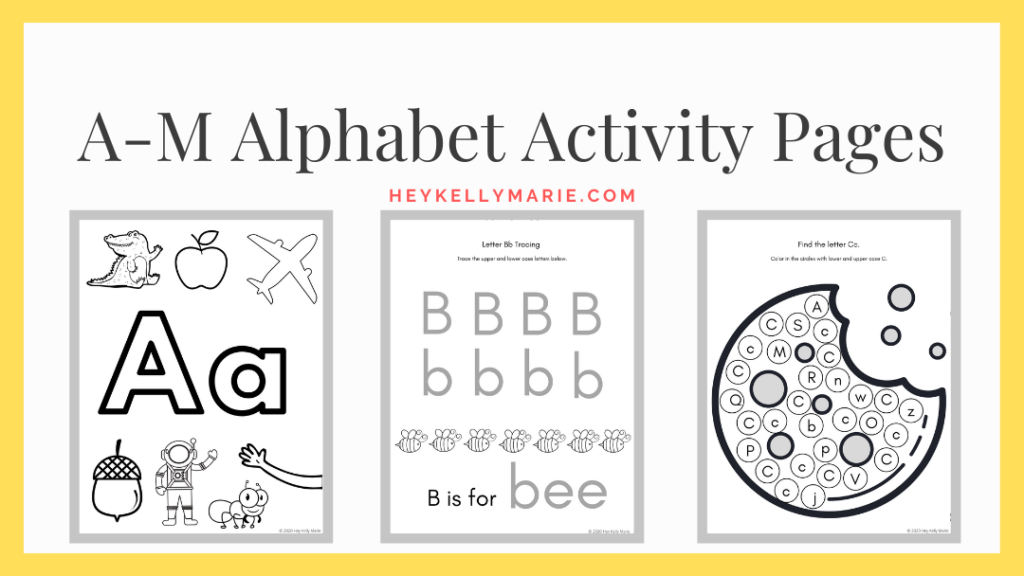 A-M alphabet activity pages link to printable pdfs