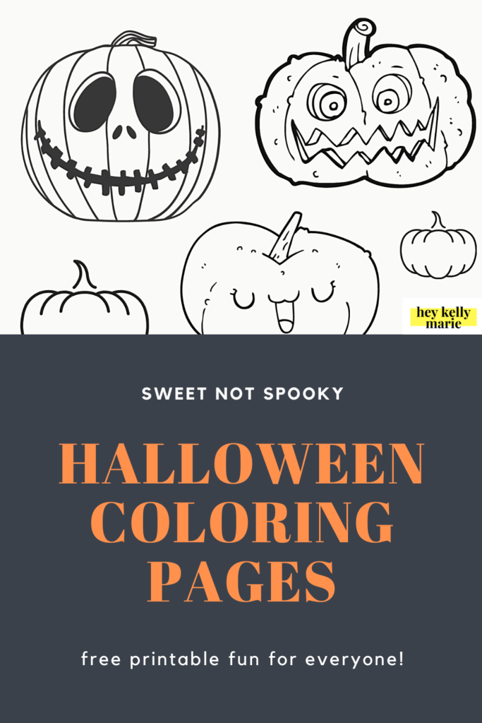pinterest pin advertising the halloween coloring pages