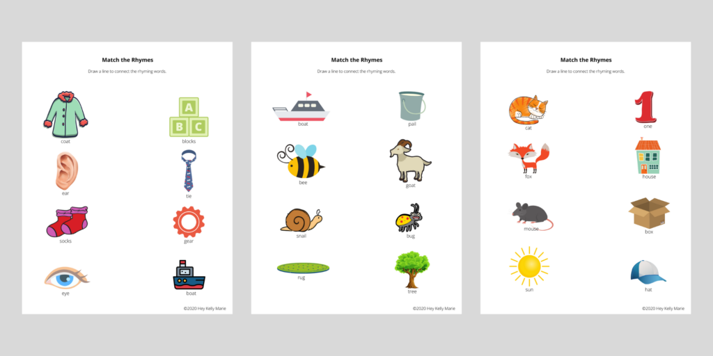 Match the rhyme pages in the free rhyming activity pages for young kids