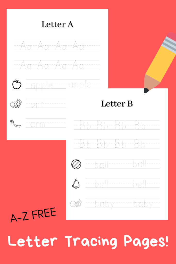 pinterest pin describing A-Z free letter tracing pages