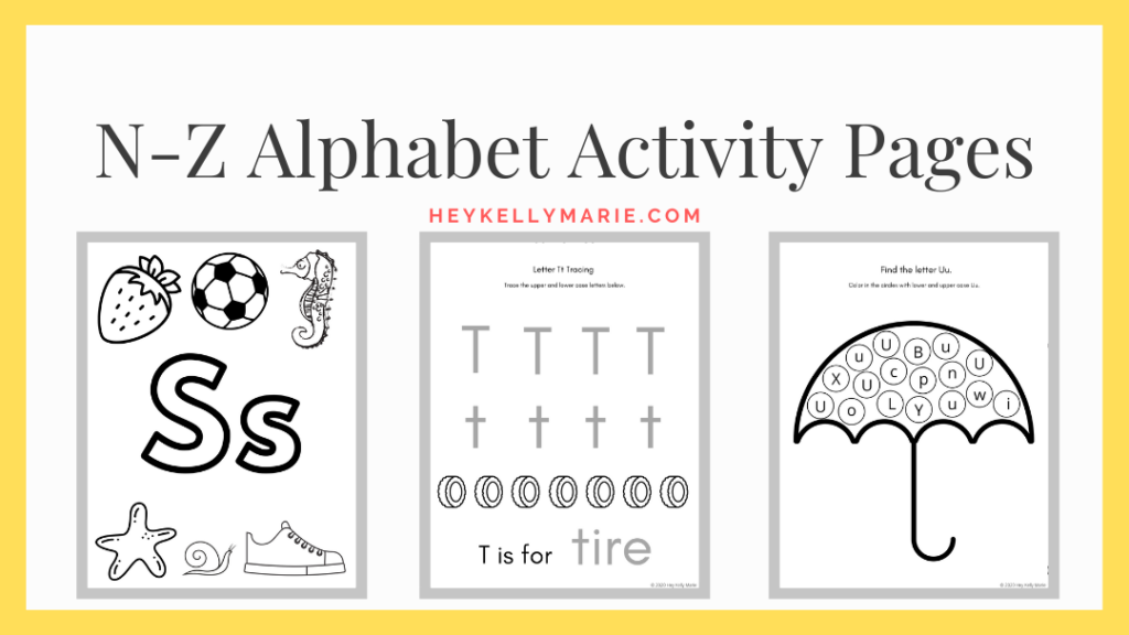 N-Z alphabet activity pages for printable pdf