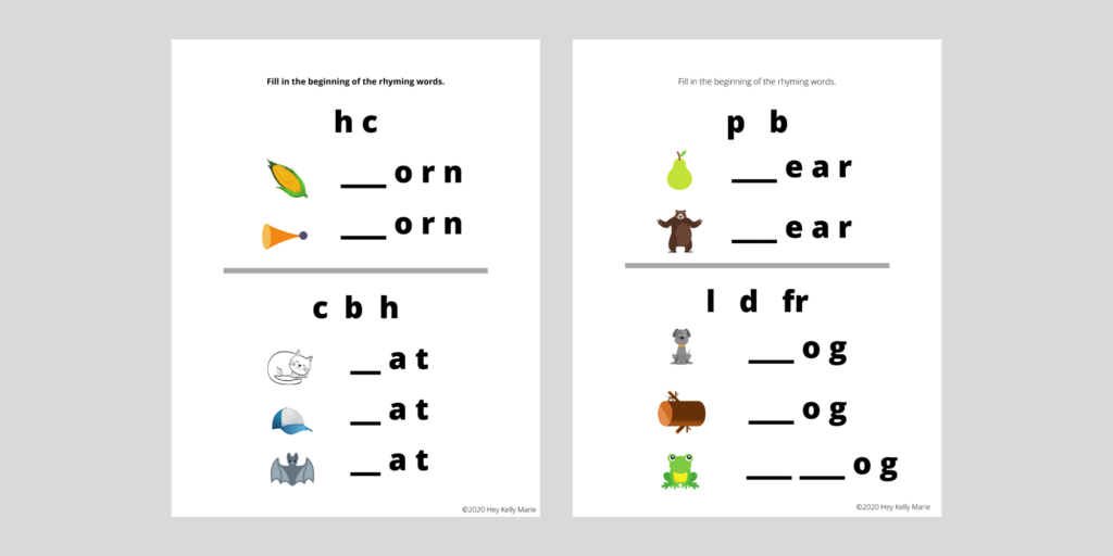 2 activity pages where kids fill in the beginning letter of rhyming words.