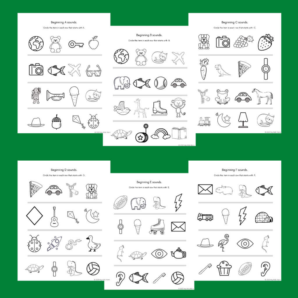 beginning letter sound activity pages for every letter as part of the 100+ alphabet worksheets
