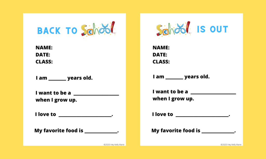 Back to School and School is Out questionnaires to capture kids' answers at the beginning and end of the school year.