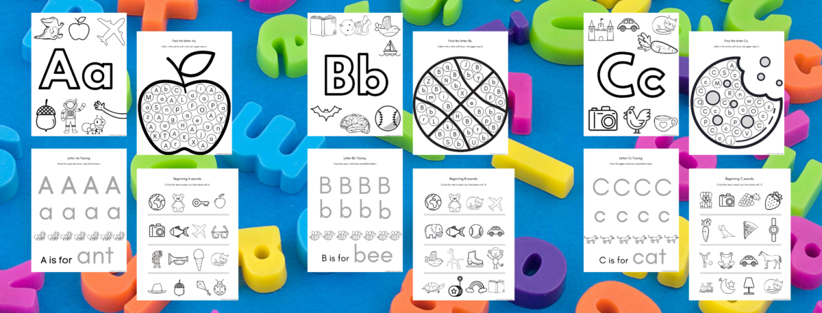 preview of the free alphabet worksheets for letters a b and c