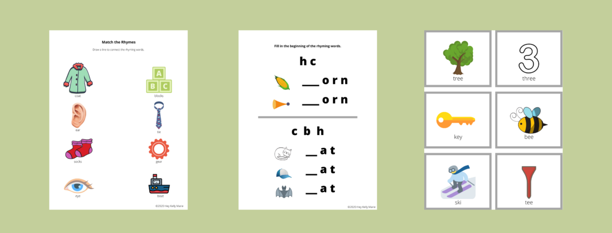 free printable rhyming activity pages preview