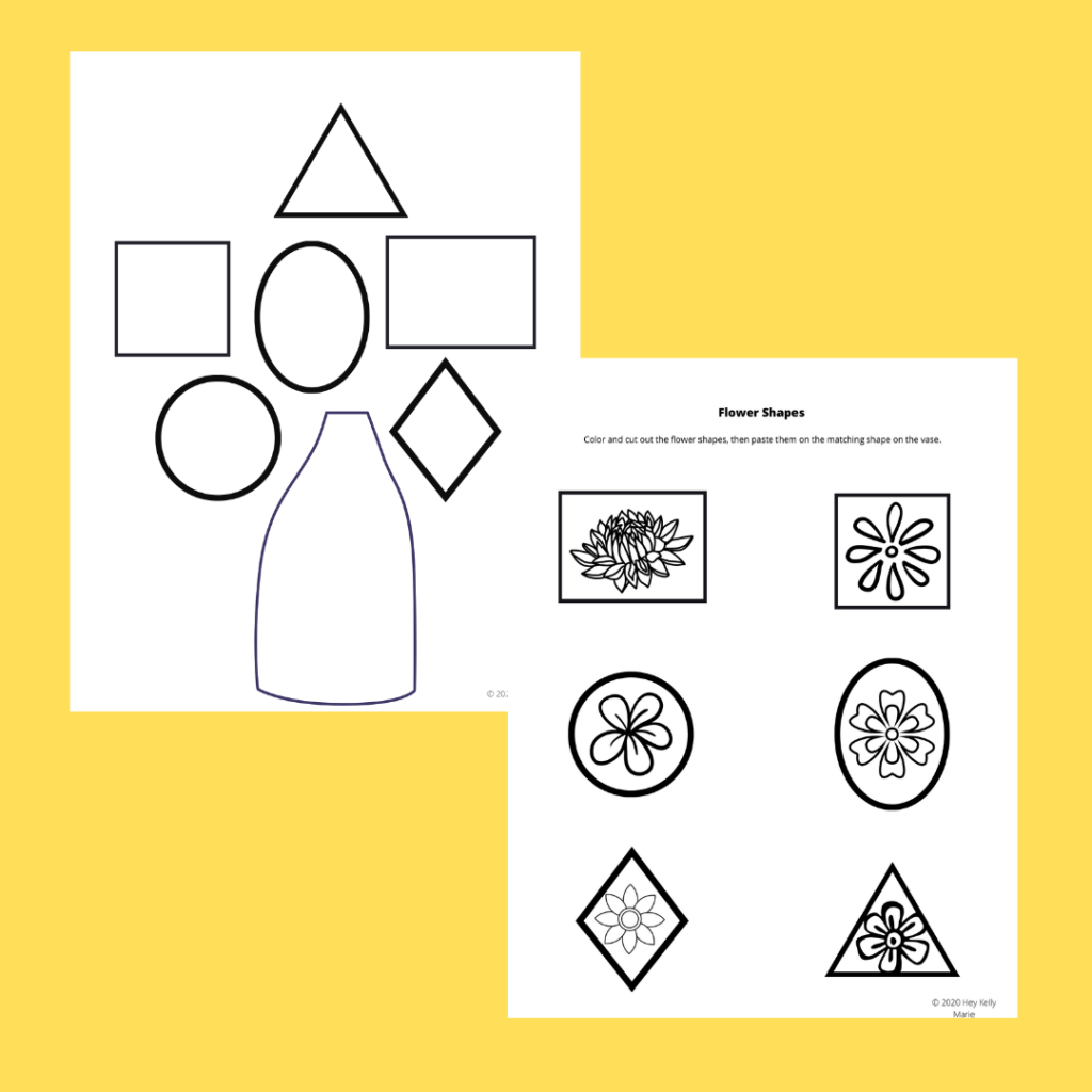 preview of the two page free, printable flower shape activity