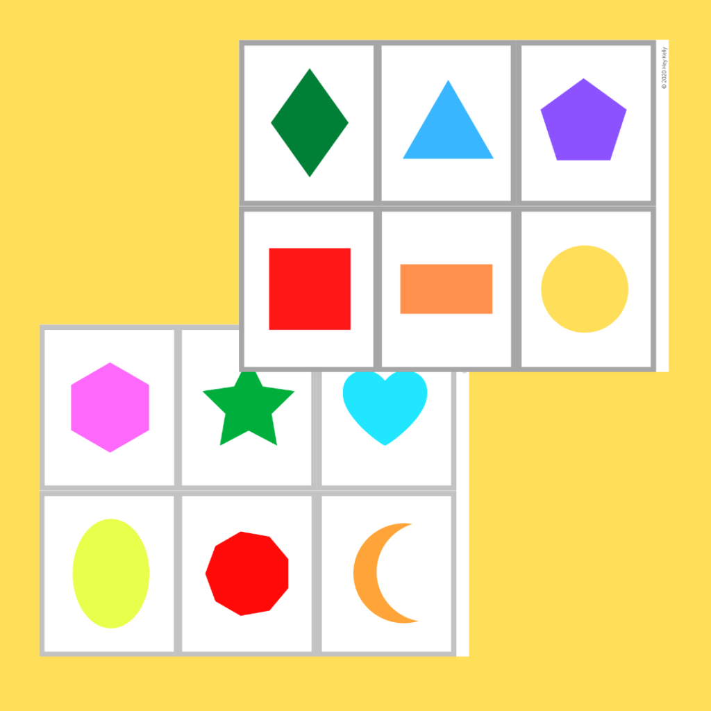 preview of shape flashcards without words