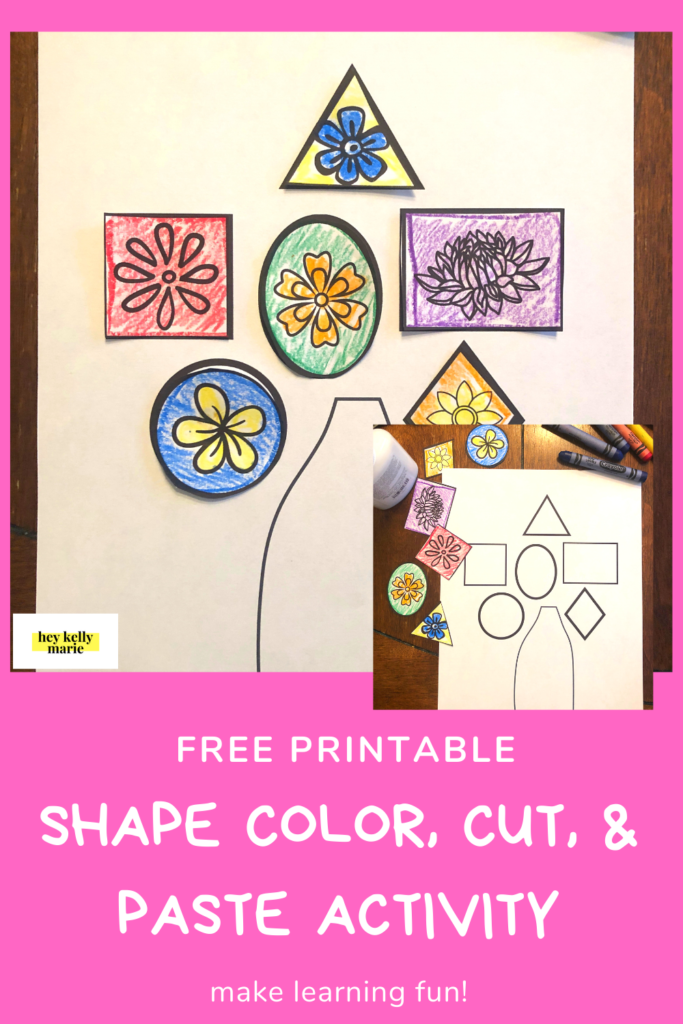 Pinterest pin of color cut and paste flower activity.