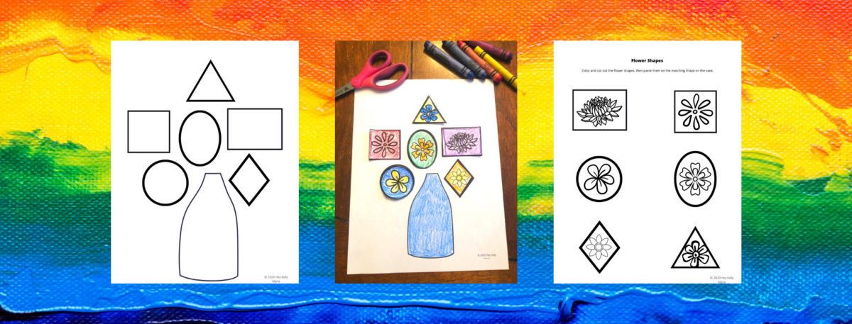 preview of flower shape color cut and paste activity