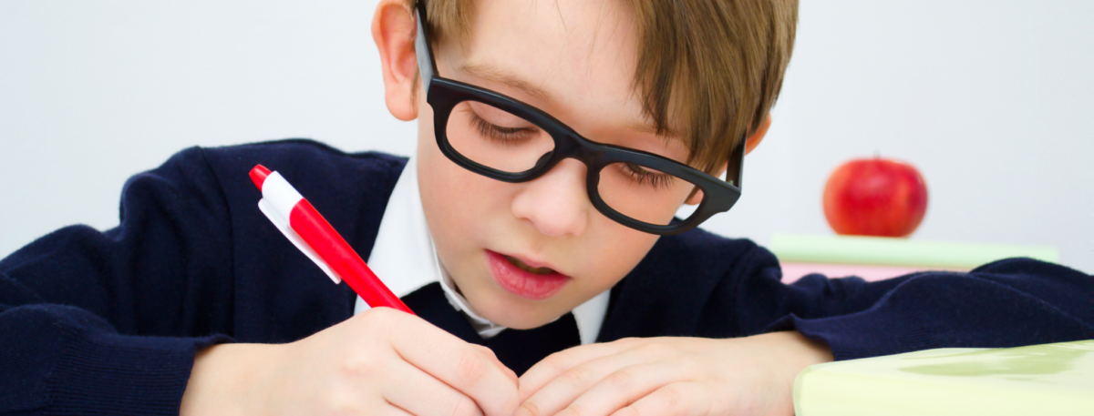 image of child working on a workbook