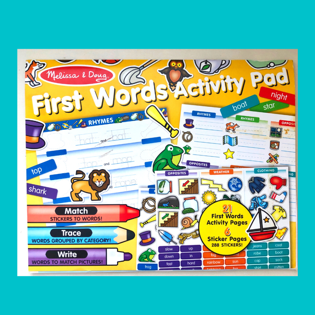 preview image of melissa and doug first words activity pad a bargain preschool workbook