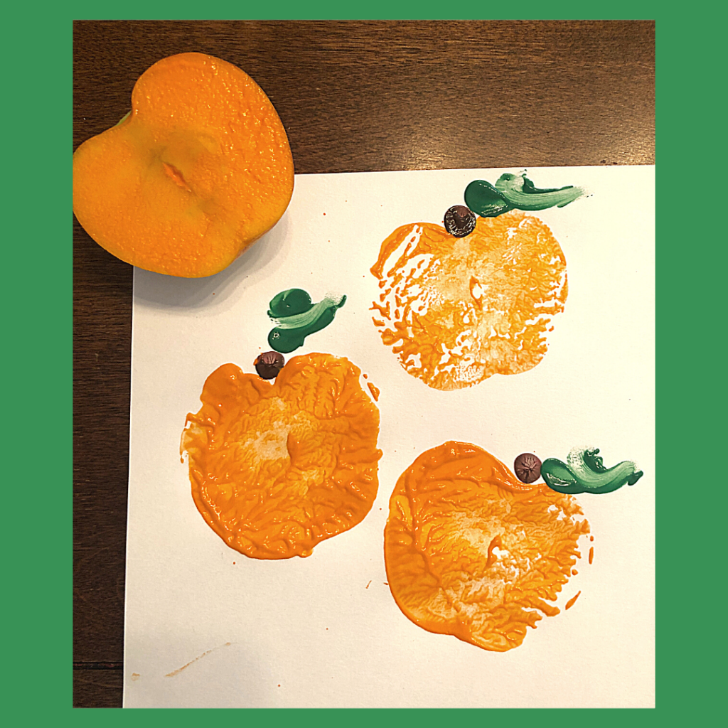 Preview of pumpkin stamp painting using apples.