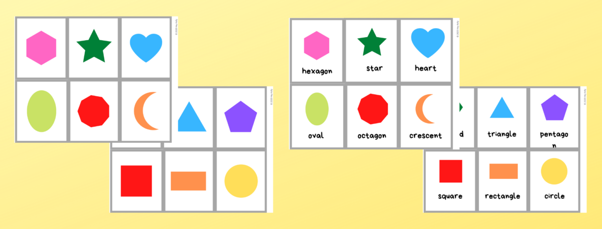 preview of free printable shape flashcards