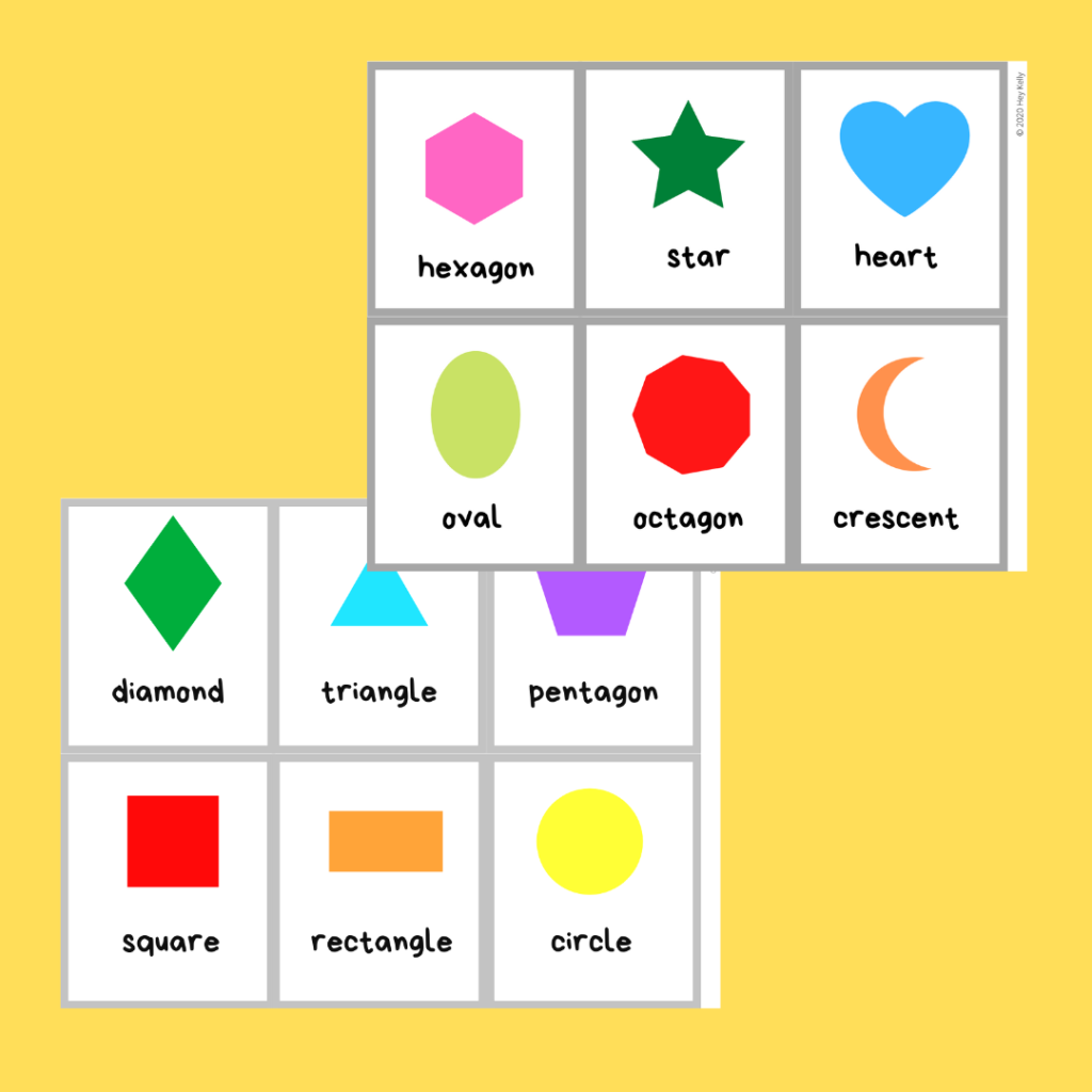 preview of shape flashcards with words