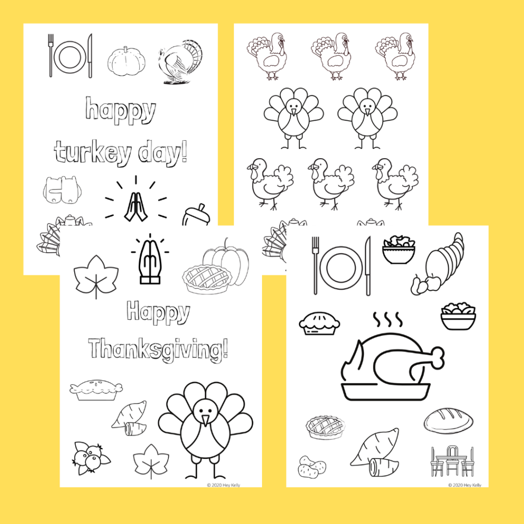 Preview of free, printable Thanksgiving coloring sheets.
