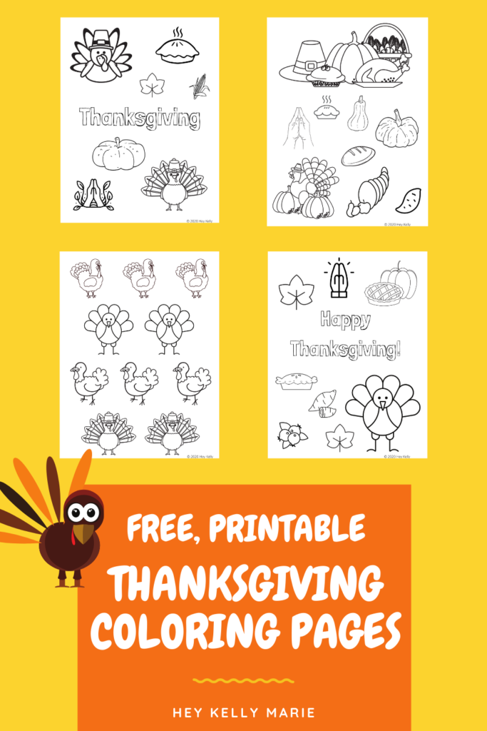 pinterest pin showing free, printable thanksgiving coloring pages