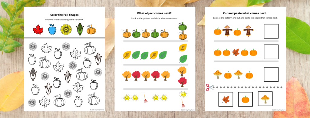 A Color the Fall Shapes according to the key activity, What comes next? Patterning Activity, and What comes next? Cut and Paste Patterning pumpkin preschool Activity are included.
