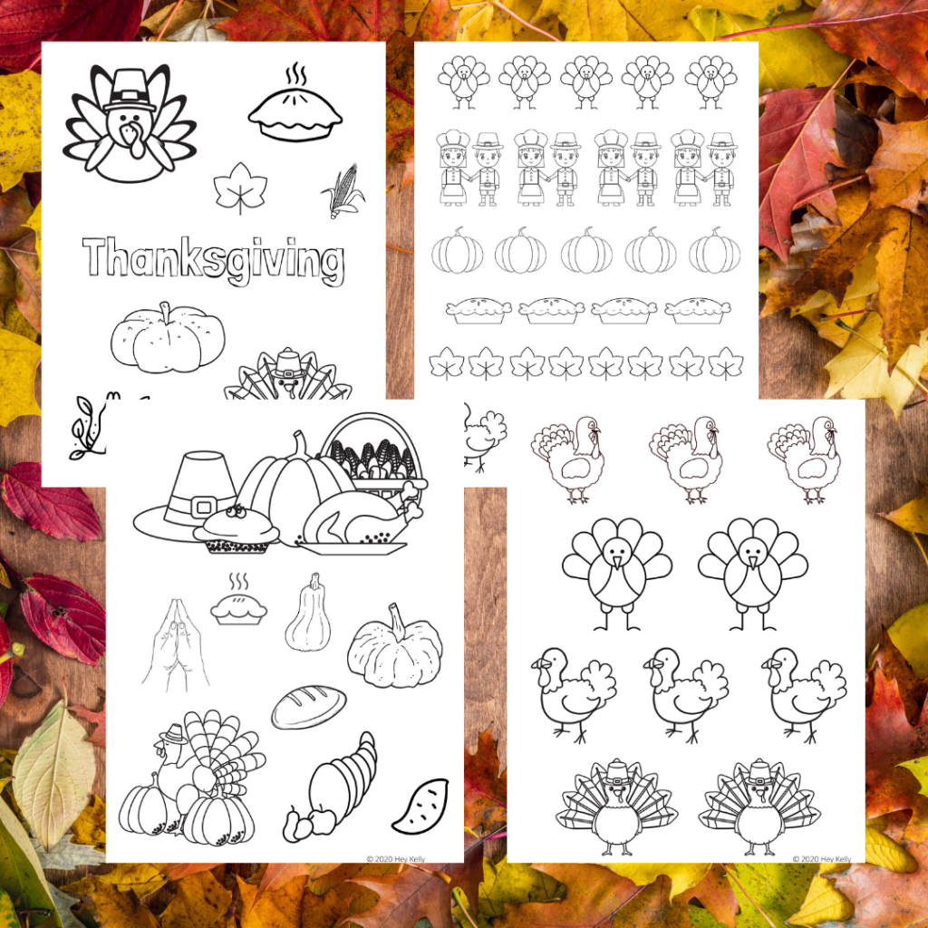preview of free, printable Thanksgiving coloring pages