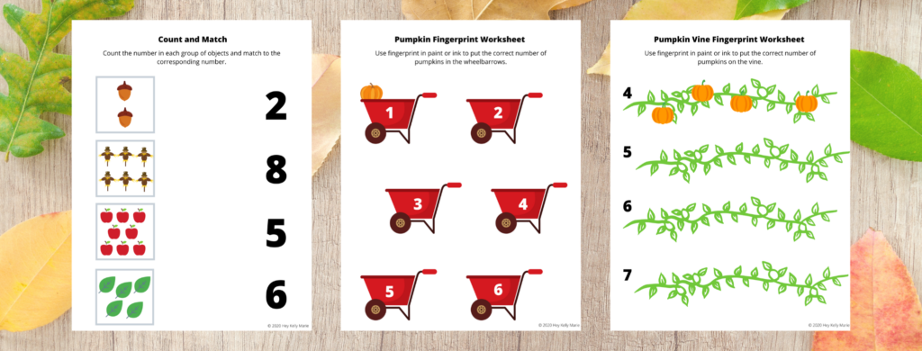 Count and Match activity, Pumpkin Fingerprint Worksheet, and Pumpkin Vine Fingerprint Worksheet work on preschool math skills and are included in the free Preschool Pumpkin Worksheet set.