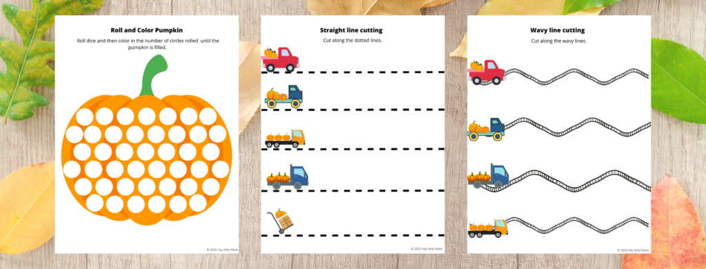 The Preschool Pumpkin Worksheet set includes the Roll and Color Pumpkin, Straight Line Cutting, and Wavy Line Cutting activity.