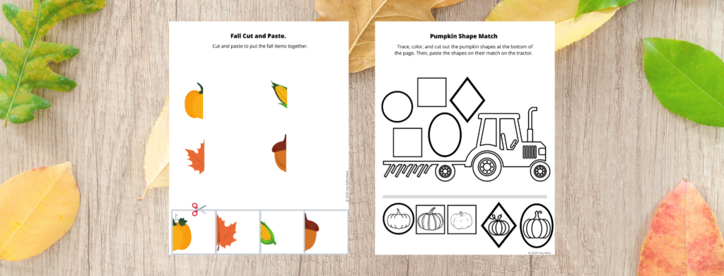 Fall Cut and Paste and a Pumpkin Shape Match activity are also included in the Preschool Pumpkin Activity packet and practice shape cutting and pasting skills.