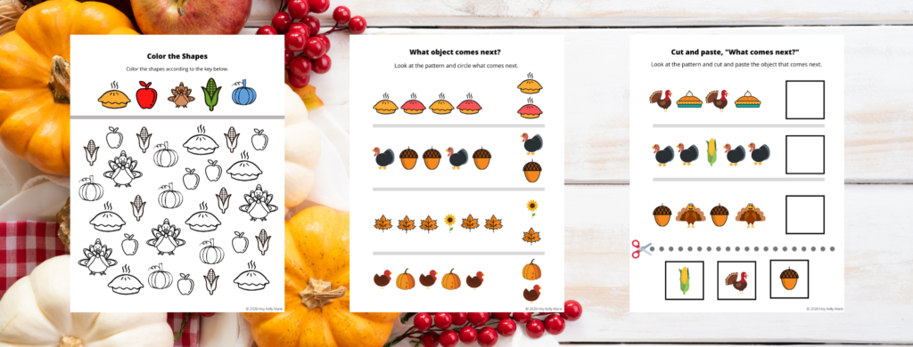 preview of first three thanksgiving activity pages