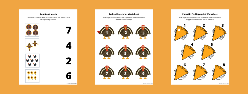 preview of Count and Match activity page, Turkey Fingerprint counting activity, and Pumpkin Pie Fingerprint counting activity.